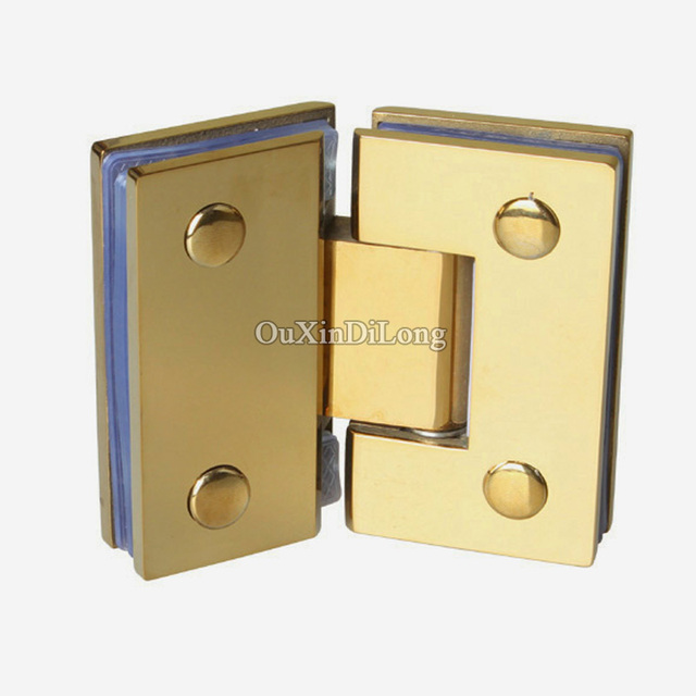 Hot 2pcs Stainless Steel Titanium Gold Frameless Shower Glass Door Hinges 135 Degree To