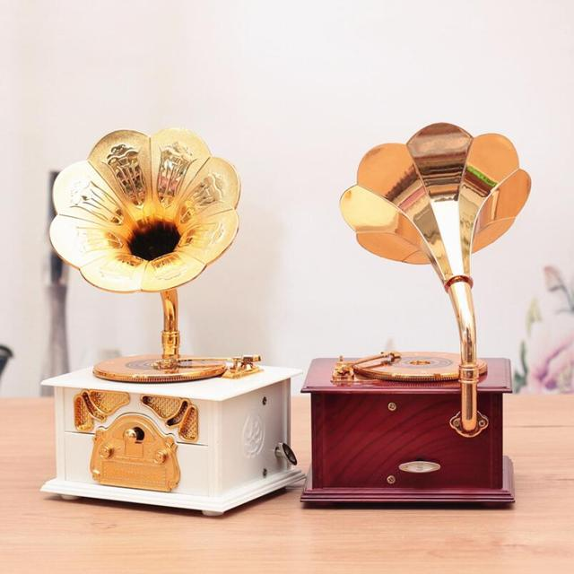 Creative Phonograph Styling Music Desktop Decoration Ornaments Retro Music Box Gift Decoration Home Decoration Products