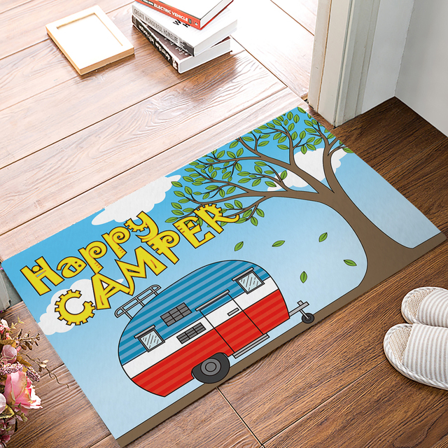 Fabric U0026 Non Slip Door Mats   Happy Camping Retro Caravan Pattern Decorative  Doormat Indoor