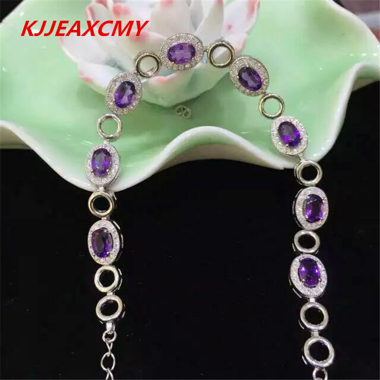 KJJEAXCMY Natural Amethyst Bracelet, jewelry, wholesale, S925 sterling silver, female models s925 pure silver personality female models new beeswax