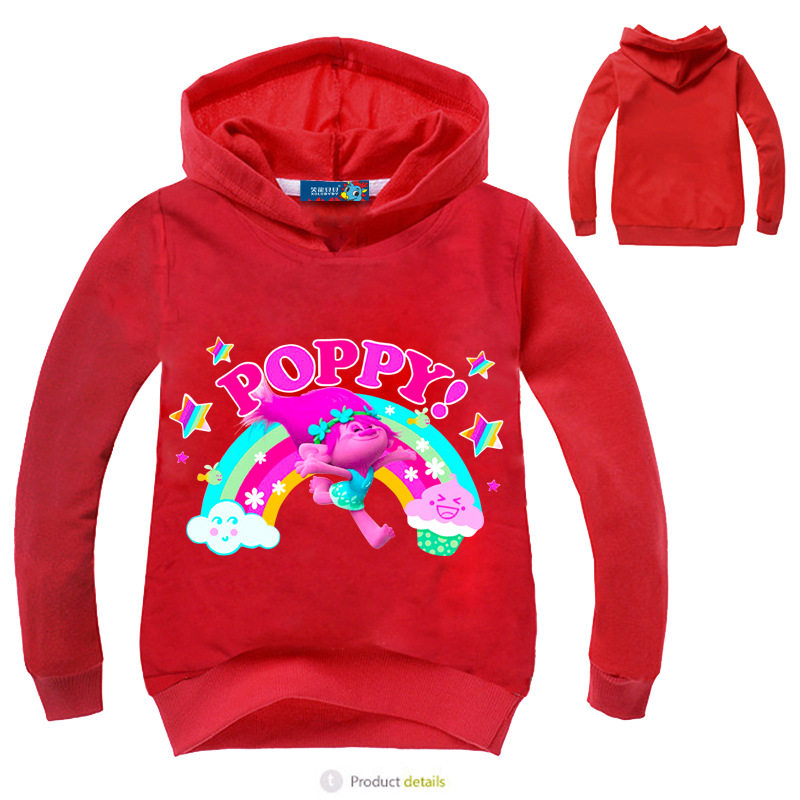 83961444fd54 Z Y 2017 New Trolls Costume Kids Hoodies and Sweatshirt Poppy ...