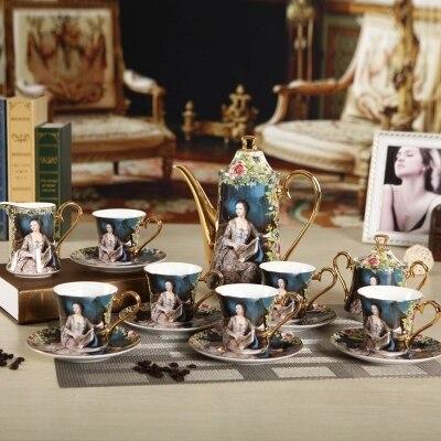 15 pcs fine bone china coffee set delicate porcelain afternoon tea sets elegant rose printing european style coffee pot cup set
