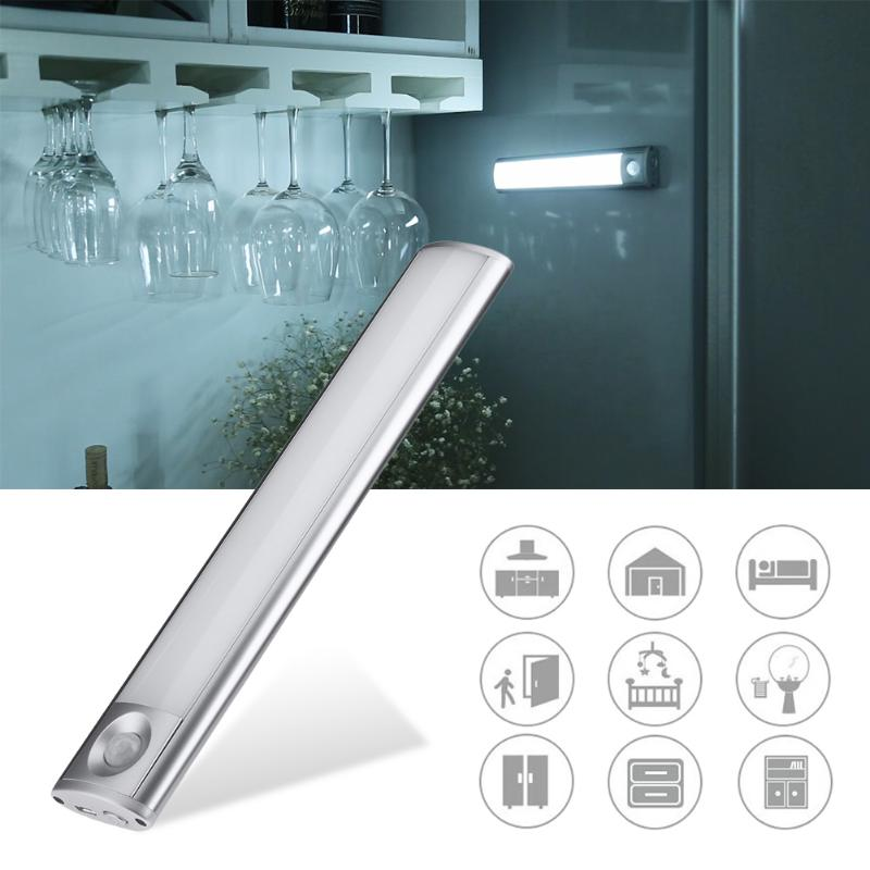 33 LED USB Rechargeable Night Light PIR Motion Sensor Night Lamp Body Induction Cabinet Lamp with Magnetic four leaf clover pir motion sensor led night light smart human body induction novelty battery usb closet cabinet toilet lamps