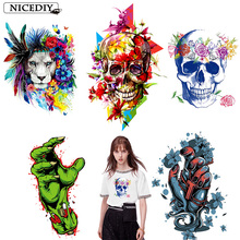 Nicediy Hippie Skull Heat Transfers Patch For Clothing Horror Movie Jacket Motorcycle Rock Style Zombie Sticker T-shirts DIY
