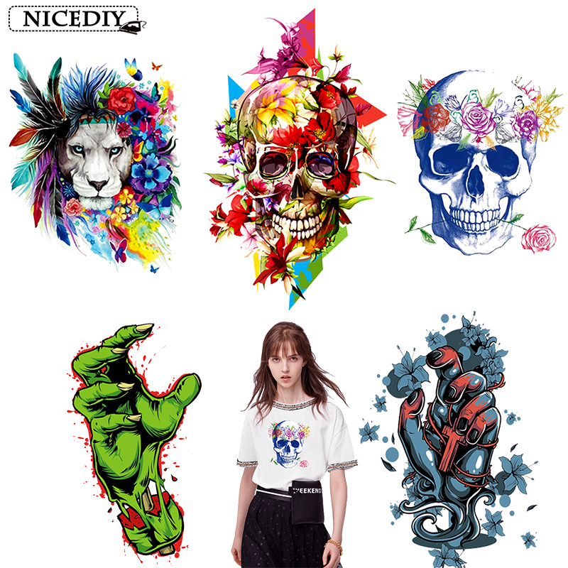 Nicediy Hippie Skull Heat Transfers Patch For Clothing Horror Movie Jacket Motorcycle Rock Style Zombie Sticker For T-shirts DIY