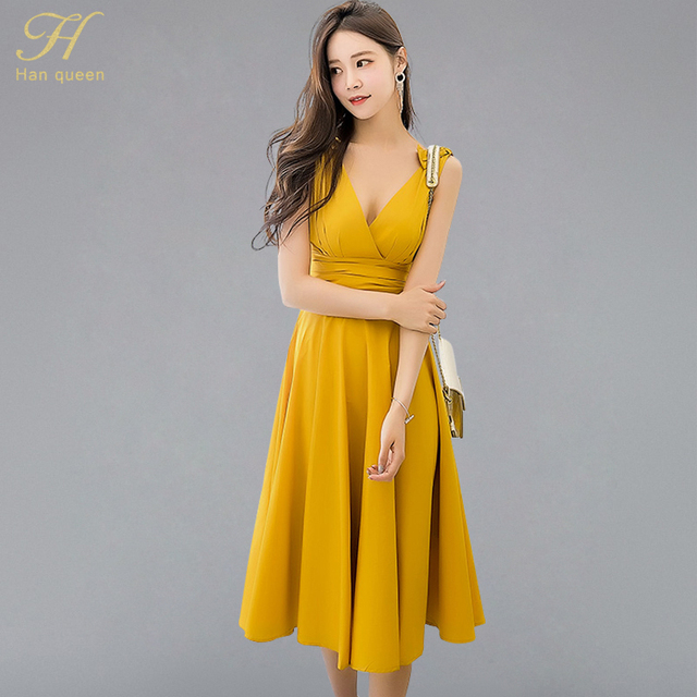689b10bfe0 H Han Queen Vintage Sexy Swing Fit And Flare Waist Ruched Draped Midi Long Dress  Women 2018 New Summer Solid Beach Tank Vestidos