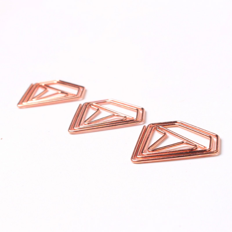 Planner Accessories Rose Gold Diamond Clip Creative Folder Bookmark Shool Stationary Office Clip Paperclips Metal Clip Metal