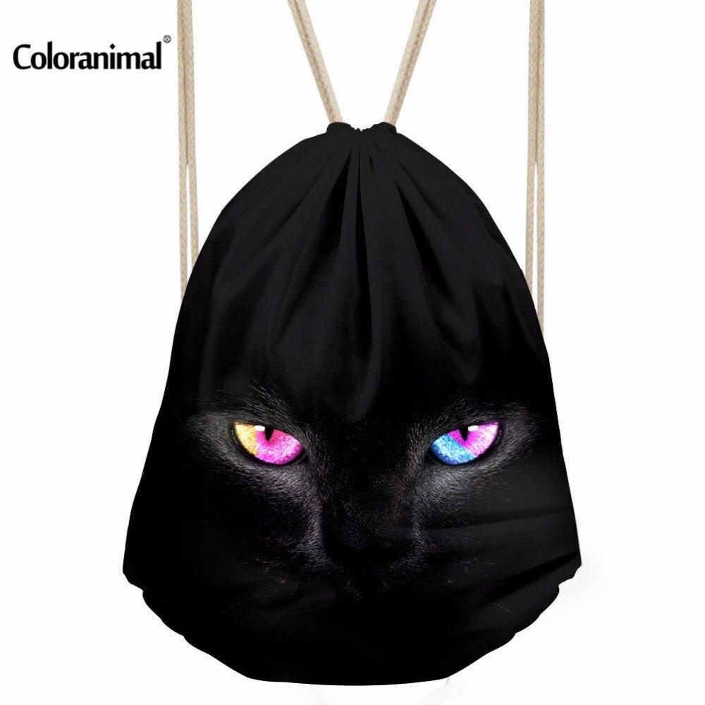 Coloranimal Fashion Drawstring Bag 3D Print Black Cats Polyester Teenagers Cinch Sack Backpack Unisex Travel Storage Package Bag