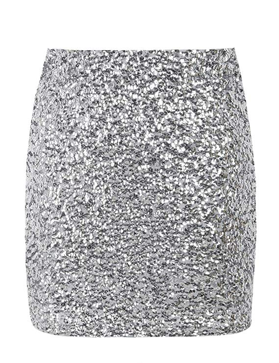 Women Sequin Skirt Bodycon Sparkle Skirt Night Out Party  Sequined Hip Skirt