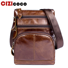 Genuine Leather Shoulder Bag New Men Messenger Bags Male Zipper Casual Small Flap Crossbody For 8121