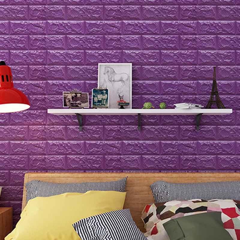 DIY Self Adhesive 3D สติกเกอร์วอลล์เปเปอร์ตกแต่งห้องนอนโฟมอิฐตกแต่งห้องนั่งเล่นสติ๊กเกอร์ติดผนังสำหรับห้องนอนเด็ก decor