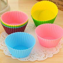 6 stks/partij Siliconen Cupcake Liners Mold Vormpjes Muti Ronde Vorm Cup Cake Tools Bakvormen Bakken Gebak Gereedschappen Cakevorm