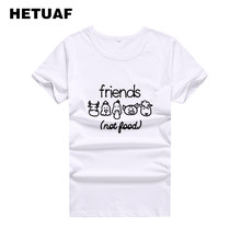 73ee1bd50 HETUAF Vegan Animals T Shirt Women Friends Not Food Funny Graphic Tees  Women Tops Vegetarian Tshirt