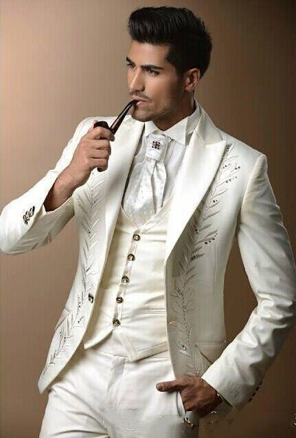 Promote=Wedding-Tuxedos Groom Men Suits Vintage White Formal Pants Vest Jacket Custom-Made Three-Piece