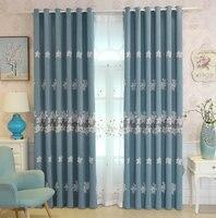 Bloemen Geborduurde Verduisteringsgordijnen woonkamer Slaapkamer Decor Window Behandeling/Drape Voor Keuken-klare 3d Lavendel