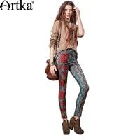 Artka 2017 Autumn Winter Print Vintage 100 Cotton Elastic Tallie Pencil Shape Tight Leggings KA15157D