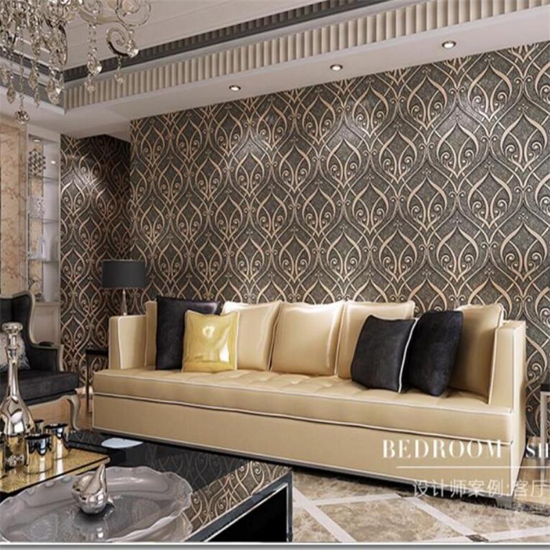 ФОТО Beibehang 3D wallpaper flocking European volume Teng flowers bedroom wallpaper living room TV background wallpaper for walls 3 d