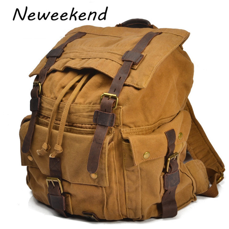 ФОТО NEWEEKEND Unisex Vintage Canvas Leather Multifuncational Large Capacity Zipper Satchel Travel knapsack Backpack Bag 2150
