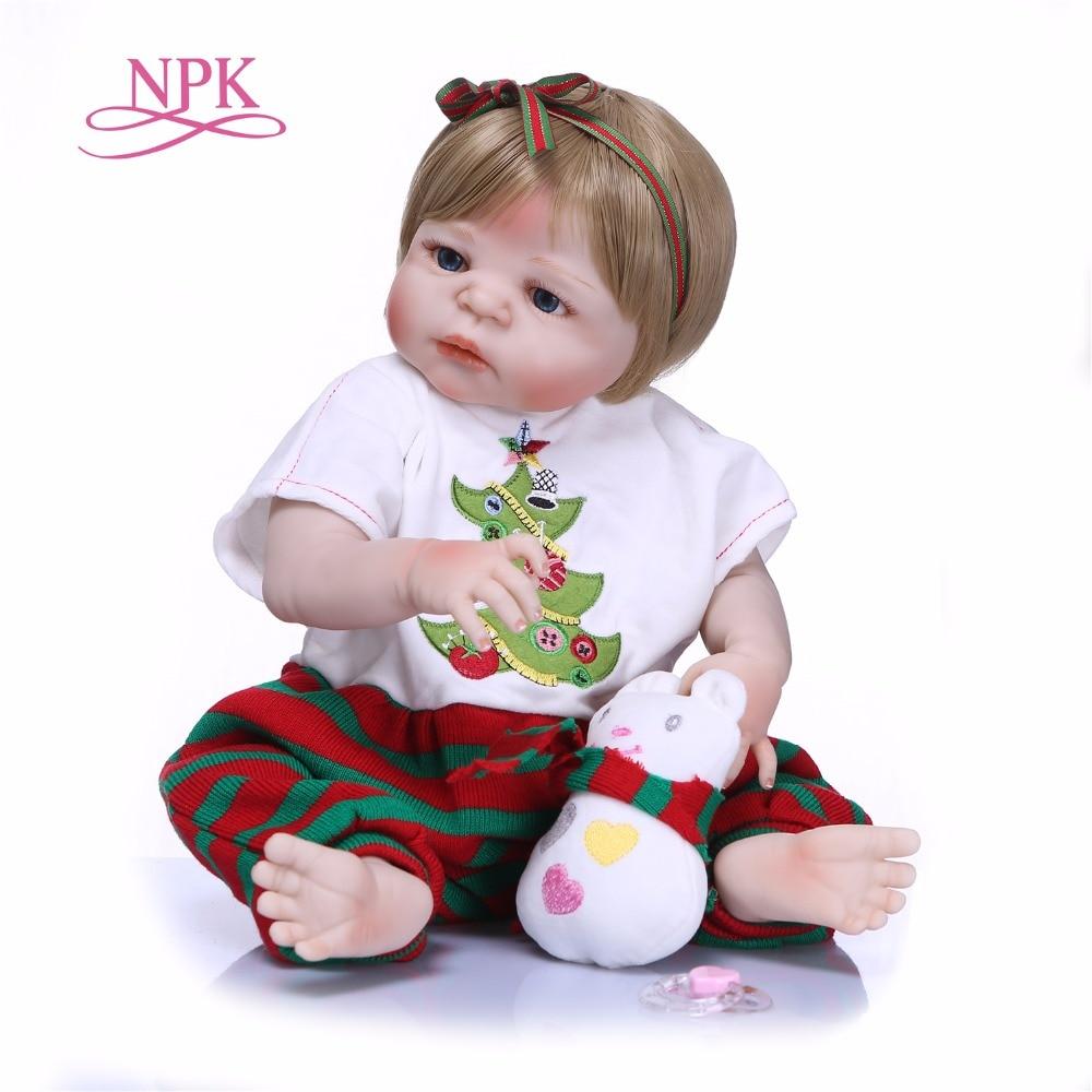 NPK 55cm Handmade Reborn Dolls Realistic full Silicone Vinyl Baby Dolls BeBe Reborn brinquedos For COLLECTION цена