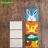 Happyxuan 3pcs Pack Large Wooden Hanging Board Diy Painting White Mold Creative Handmade Material Children Learning