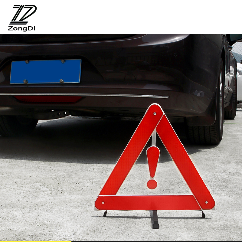 ZD Car For Mercedes W203 W211 W204 W210 Benz BMW F10 E34 E30 F20 X5 E70 Reflective Triangle Safety Stop Warning Sign Foldable new reflective traffic warning sign car triangle foldable standing tripod emergency