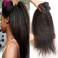 Virgem brasileira kinky em linha reta cabelo weave bundles 3 pcs rosa produtos de cabelo 7a brasileira mink cabelo humano yaki grosseiro italiana cabelo