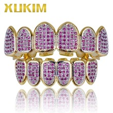 Xukim Jewelry Hip Hop Gold Color Pink Teeth Grillz Top & Bottom Grillz Vampire Fangs Rapper Jewelry Gift Party