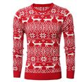 New Personalized Male Round Neck Pullover Sweaters Men Winter Red Christmas Sweater Deer Pattern Knitted Jumper Sueter Masculino