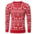 Novo Personalizado Masculino Em Torno Do Pescoço Pulôver Blusas Homens Inverno Camisola Vermelha Do Natal Cervos Padrão Malha Jumper Sueter Masculino