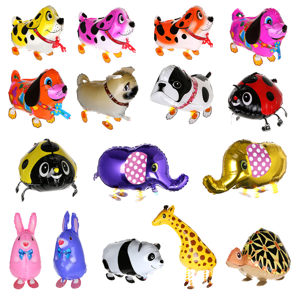 29 typer Walking Animal Balloons Cute Cat Dog Rabbit Panda Dinosaur Tiger Panda Balloons Pet Balls Party Fødselsdag Dekoration