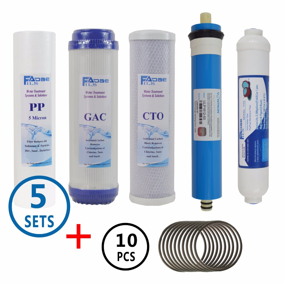 5 Sets 5 Stage RO Replacement Water Filter Cartridges Kits with 50GPD Membrane Elements plus 10 pcs membrane housing oring5 Sets 5 Stage RO Replacement Water Filter Cartridges Kits with 50GPD Membrane Elements plus 10 pcs membrane housing oring