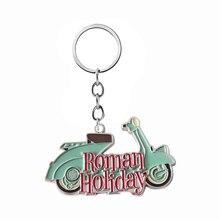 SG New Creative Roman Holiday Keychains Pendants Audrey Hepburn Princess Ann Joe Motorcycle Metal Car Keyring Men Fans Gifts