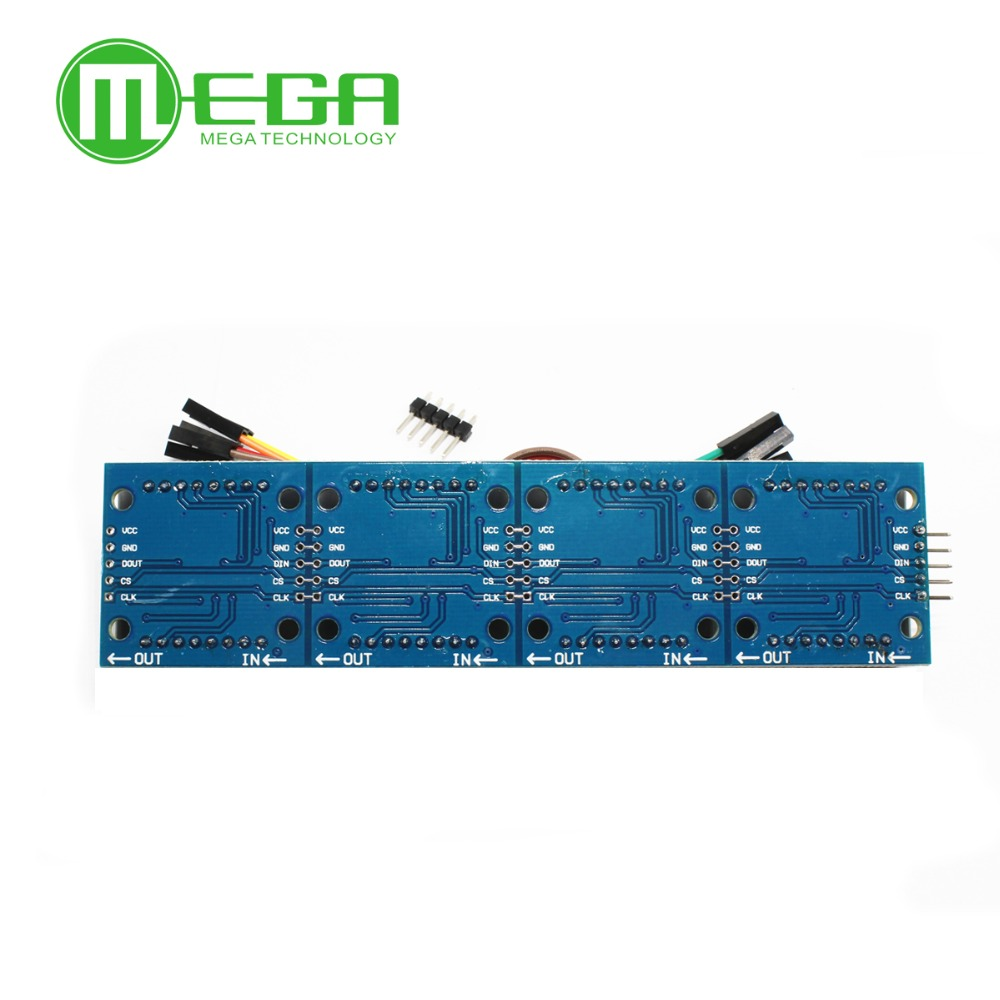 Image 2 - 1pcs MAX7219 Dot Matrix Module For Microcontroller 4 In One Display with 5P Line-in Integrated Circuits from Electronic Components & Supplies