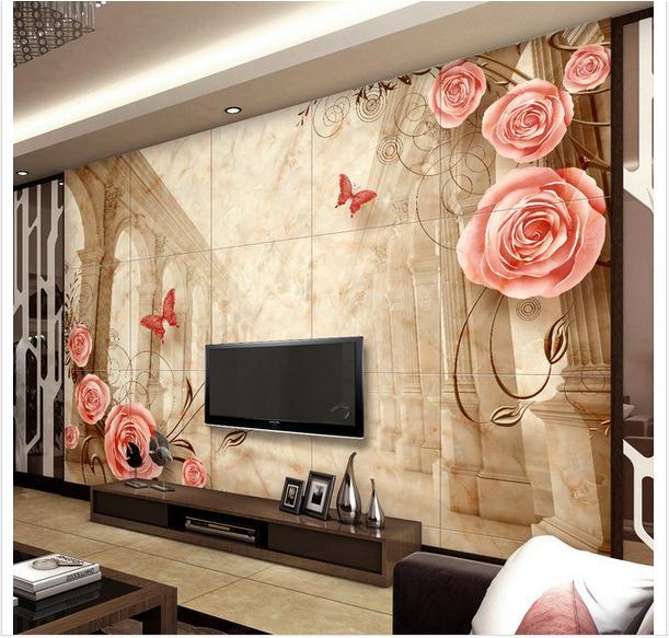 Columnas de m rmol personalizado del papel pintado 3d tv for Papel pintado personalizado