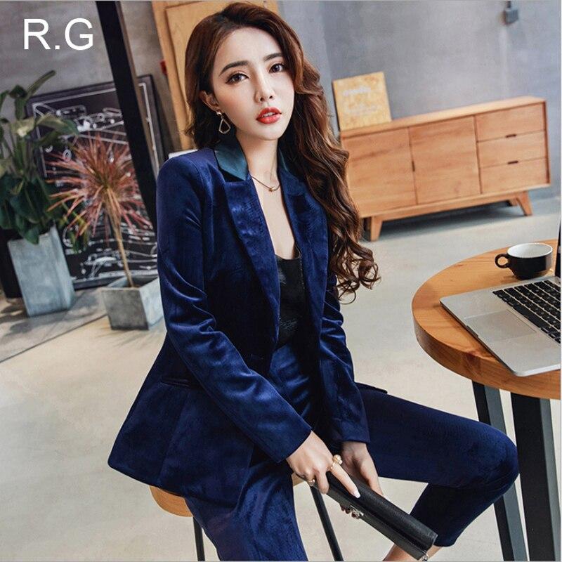 0d1b44e946 RG Calças Formais de Negócios de Moda Terno Feminino Conjunto Tecido De Veludo  Azul Uniforme Escritório Tornozelo Comprimento das Calças Terninho Terno ...