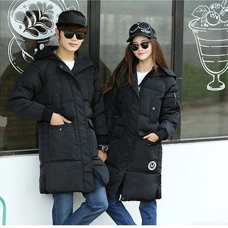 2017 NEW HOT SALE WINTER LOVERS JACKERS MEDIUM LENGTH HOODED THICKEN WARM LOVERS PARKAS SLIM OVERCOAT HIGH QUALITY ZL458