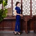 Vintage Elegant Chinese Women Long Cheongsam Dress Velvet Cheongsam Long Qipao China Chinese Traditional Dress Clothes for Women