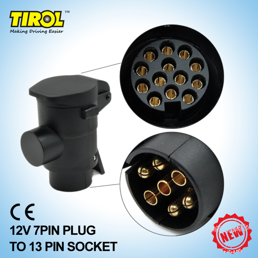 Tirol T22808b New 7 To 13 Pin Trailer Plug Black Frosted Materials Connector Wiring 12v Towbar Towing N Type In Couplings Accessories