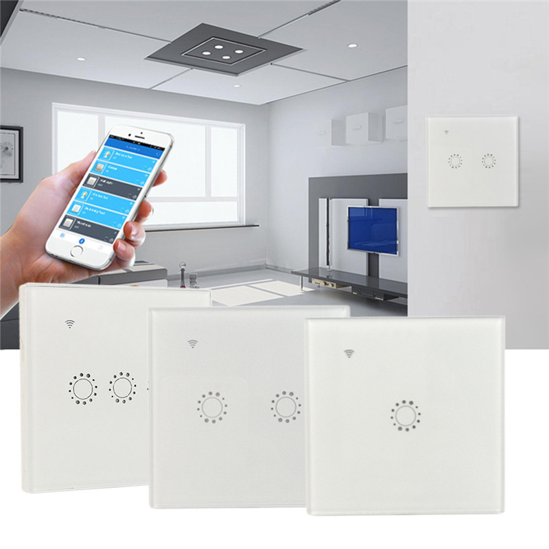 LAIDEYI Wifi Touch Wall Switch Panel 1/2/3 Gang Work with Alexa Google Home Wireless Smart Switch Timing&Remote Control Via APP lemaic wifi smart switch 2 gang light wall switch app remote control work with amazon google alexa timing function touch screen