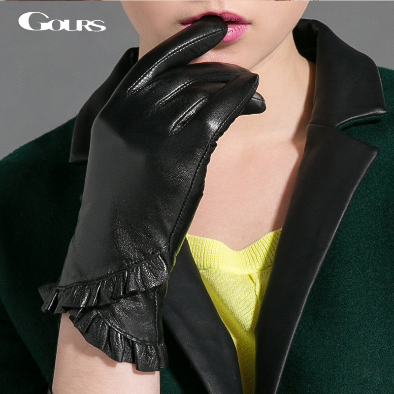 Gours Winter Genuine Leather Gloves For Women Fall New Fashion Brand Lace Black Ladies Gloves Goatskin Mittens Luvas GSL027