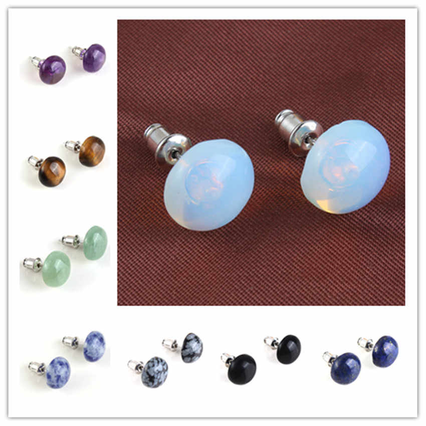 Trendy-beads Silver Plated Many Colors Quartz Stone Half Ball Shape Stud Earrings For Christmas Gift Jewelry