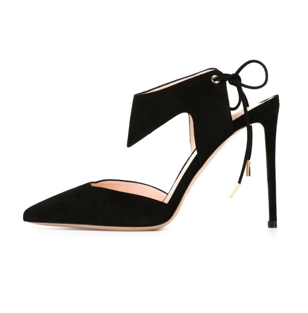 ФОТО Women's Pointed Toe Cut Out Lace Up High Heel Pumps Closed Toe Ankle Wrap Self-tie Stilettos Party Dress Shoes Black Flock