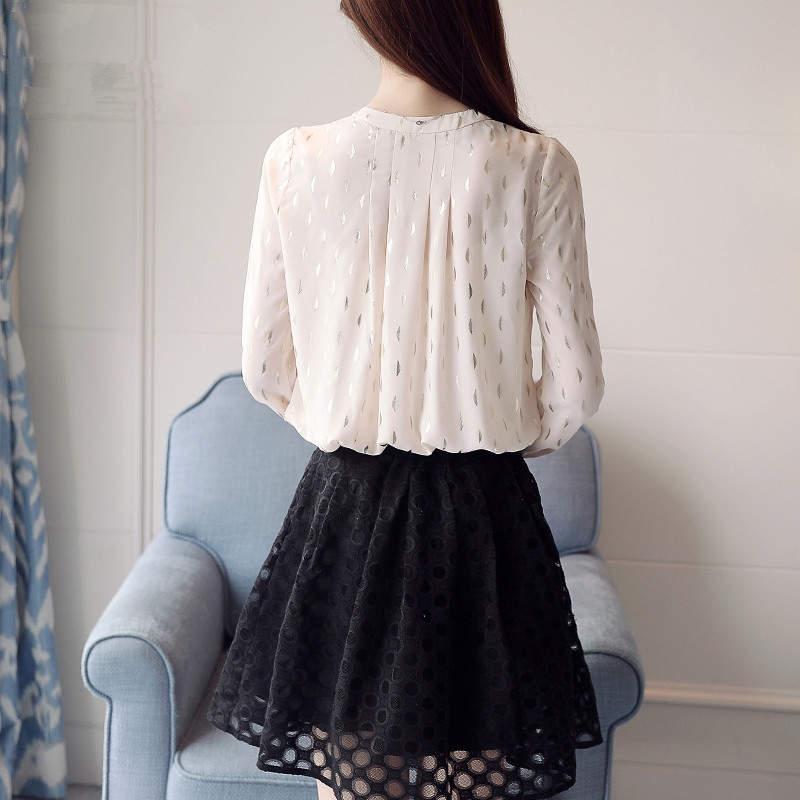 Moda Camisas Diseño De Manga 34969 Mujer Tops Blusas Elegante 2019 Blusa cuello Corbata Larga Neploe Apricot Primavera O Gasa wpXO4gnqcP