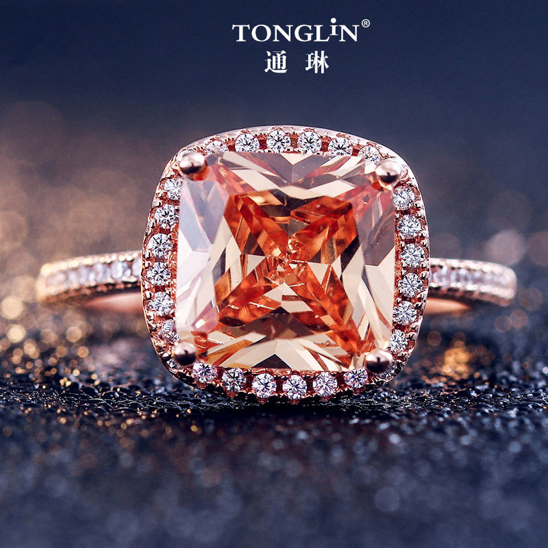 TONGLiN Real 925 Sterling Silver Sparkling Engagement Gold Ring, 9mm big Champagne Women Morganite Halo Wedding Jewelry