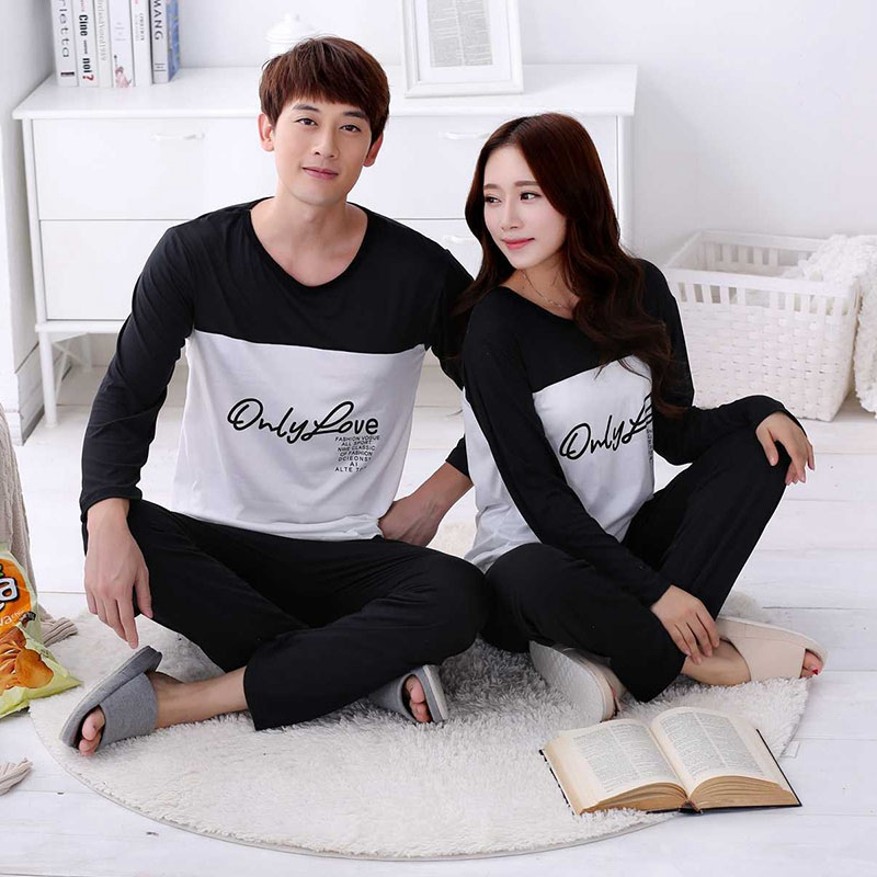 Couple Pajamas Set Letter Printed Patchwork O-Neck Spring Autumn Comfy Women Pyjamas Long Sleeve Sleepwear Men Lounge Pijama