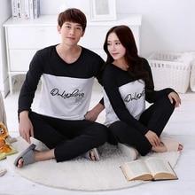 Couple Pajamas Set Letter Printed Patchwork O-Neck Spring Au