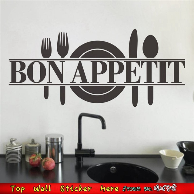 Bon Appetit Food Wall Stickers Kitchen Dining Room Decoration PVC Plane Decal House Decor Home
