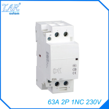 Free shipping high quality 63A  AC 220v 230v 50/60Hz 63A 1NC 2P 2-pole household mini DIN Rail modular AC contactor