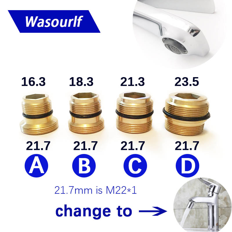 WASOURLF Male External Thread Transfer M22 Male Thread Connector Outer Adapter Shower Brass Faucet Accessories
