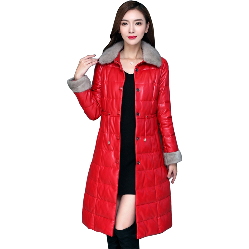 European Winter Women Real Leather Parkas   Down     Coats   Mink Fur Collar & Cuff Lady Warm Outerwear Overcoat LF4205